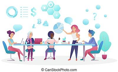 center., begrepp, kontor, affärsfolk, arbeta, skapande, talande, coworking, vektor, lag möta, illustration.