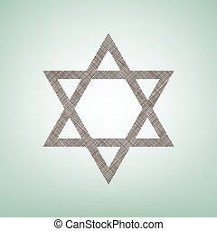 center., brauner, israel., magen, licht, symbol, star., fleck, flachs, david, grüner hintergrund, ikone, vector., schutzschirm