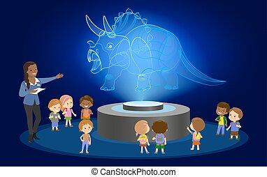 center., brun, skola skämtar, grupp, illustration., afrikansk, museum, skinn, utbildning, hår, dinosaurie, vektor, svart, nyskapande, elementär, framtid, hologram