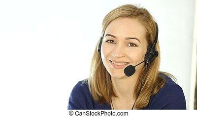 center., casque à écouteurs, femme, fonctionnement,...