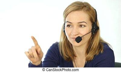 center., casque à écouteurs, femme, fonctionnement, helpline., mouvement, conversation, lent, appeler, employé, télémarketing