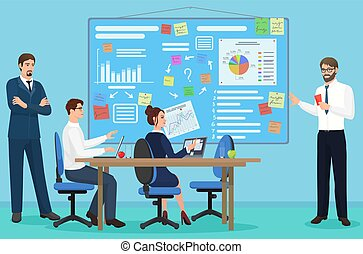 center., conceito, trabalhando, pessoas negócio, escritório., espaço, junto, apresentação, falando, coworking, vetorial, meeting., abertos, illustration.