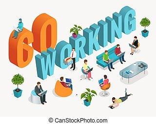 center., concepto, trabajando, empresarios, oficina.,...