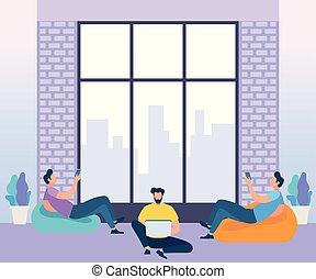 center., coworking, conceito, negócio, meeting.