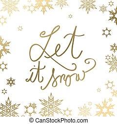 center., dorado, texto, resumen, él, nieve, dejar, plano de fondo, copo de nieve