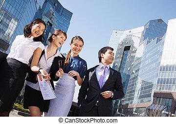 center., draußen, gruppe, geschaeftswelt, zeigen, aus,...