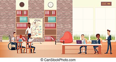 center., escritório, pessoas negócio, coworking, reunião