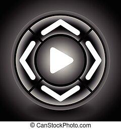 center., esfera, remoto, genérico, button), multimedia, flechas, (video)., controlador, botón, (round, 4-way, o