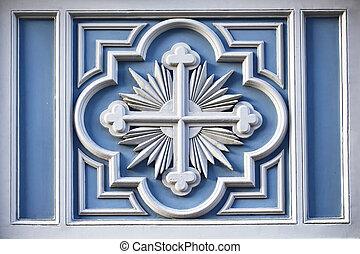 center., estilo, arquitectónico, vista, arriba, detalle, histórico, ruso, cierre, señal, religioso, cruz, edificio.