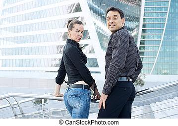 center., femme, hommes affaires, business