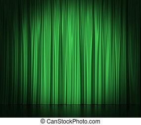 center., gordijnen, theater, bioscoop, licht, spotlit, illustratie, groene, zijde, 3d