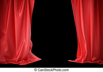 center., gordijnen, theater, bioscoop, licht, spotlit, vertolking, zijde, rood, 3d