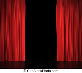 center., gordijnen, theater, bioscoop, licht, spotlit, zijde, open, rood