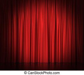 center., gordijnen, theater, bioscoop, licht, spotlit, zijde, rood
