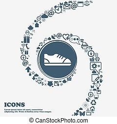 center., gyönyörű, alkalmaz, mindenfelé, ikon, spiral., sok, meggörbült, jelkép, vektor, konzerv, mindegyik, separately, ön, design., -e, cipő