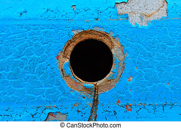 Center hole on blue metal plate