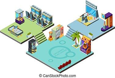 center., isometrico, bambini, arcata, simulatore, pugilato, parco, gioco, flipper, piattaforma girevole, vettore, divertimento, sagoma, gioco, macchine