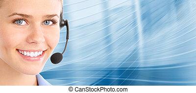 center., klant, support., roepen, helpdesk.