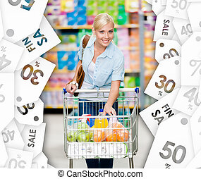 center., lleno, compras, alimento, venta, carrito, plano de ...