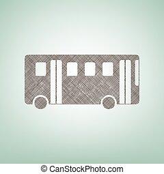 center., marrón, vector., simple, autobús, signo., punto, lino, fondo verde, luz, icono
