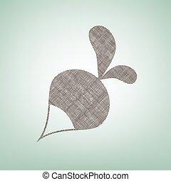 center., marrone, vector., semplice, ravanello, segno., macchia, lino, sfondo verde, luce, icona