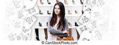 center., nakupování, pátek, čerň, portrét, polodlouhý, dáma