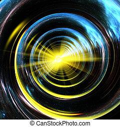 center., nebulae, universo, tubo, espiral, amarillo, reflejar, estrellas, luz, emitir, raying