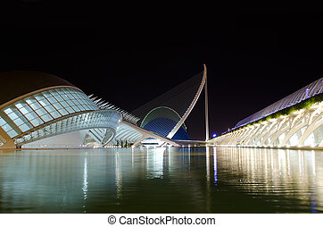 Center of Arts and Science in Valencia, Spain. Night