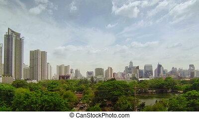 center of Bangkok city with panning