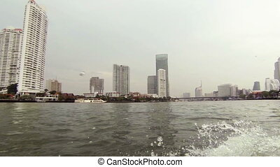 center of Bangkok from a boat