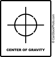 CENTER OF GRAVITY packaging symbol on a corrugated cardboard box. For use on cardboard boxes, packages and parcels. Vector illustration