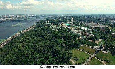 center of Kiev, view on Kiev-Pechersk Lavra, aerial - Green...