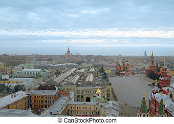 Center of Moscow. View of the red square with a roof hotel...