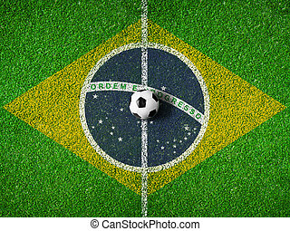 Center of soccer or football pitch with flag of Brazil