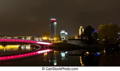 Center of the night Minsk city. Time lapse shot in motion