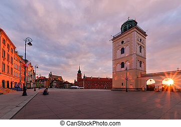 Center of the old town in Warsaw in sunrise