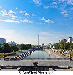 View on the historical square from the dam on Iset river in the center of Yekaterinburg, Russia