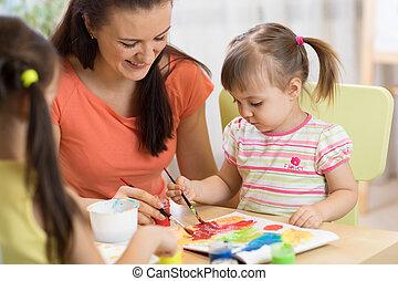 center., pequeno, mulher, creche, meninas, professor, divirta, quadro, crianças, pastime.