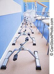 center., physiotherapist, felépülés, felszerelés, használ, rehabilitáció