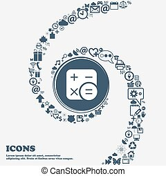 center., piękny, korzystać, dookoła, spiral., dużo, kalkulator, kręcił, symbolika, wektor, może, każdy, separately, ty, ikona, twój, design.