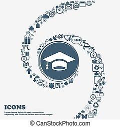 center., piękny, korzystać, dookoła, spiral., dużo, kręcił, skala, symbolika, wektor, może, każdy, separately, ty, ikona, twój, design.