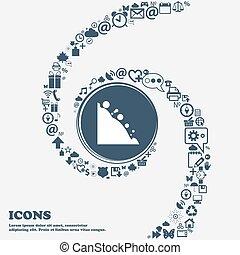 center., piękny, korzystać, dookoła, spiral., dużo, rockfall, kręcił, symbolika, wektor, może, każdy, separately, ty, ikona, twój, design.