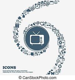 center., piękny, korzystać, dookoła, telewizja, dużo, kręcił, symbolika, spiral., wektor, może, każdy, separately, ty, ikona, twój, design.