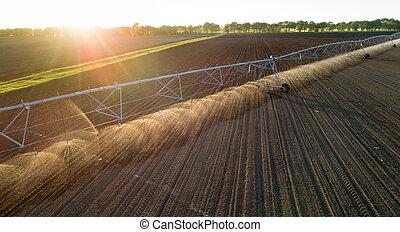 Center pivot irrigation system on field