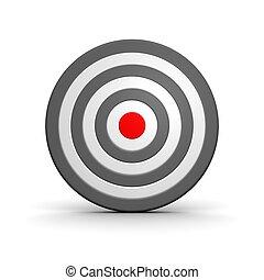 center., representado, alvo, pretas, branca, 3d, vermelho, illustration.