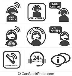 center., satz, rufen, ikone