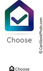 center., simples, casa, marca, lar, logotipo, color., logo., cheque, 3d