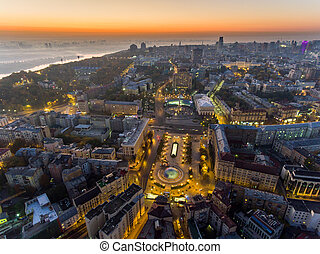 center., stadt, revolution, luftaufnahmen, square., pride., ukraine., kyiv., unabhängigkeit, orange, monument., revolution., ansicht