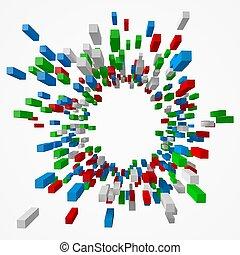 center., stile, cubi, colpo, colorito, astratto, illustrazione, vettore, 3d