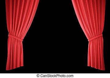 center., tenda, teatro, cinema, luce, spotlit, interpretazione, seta, rosso, 3d